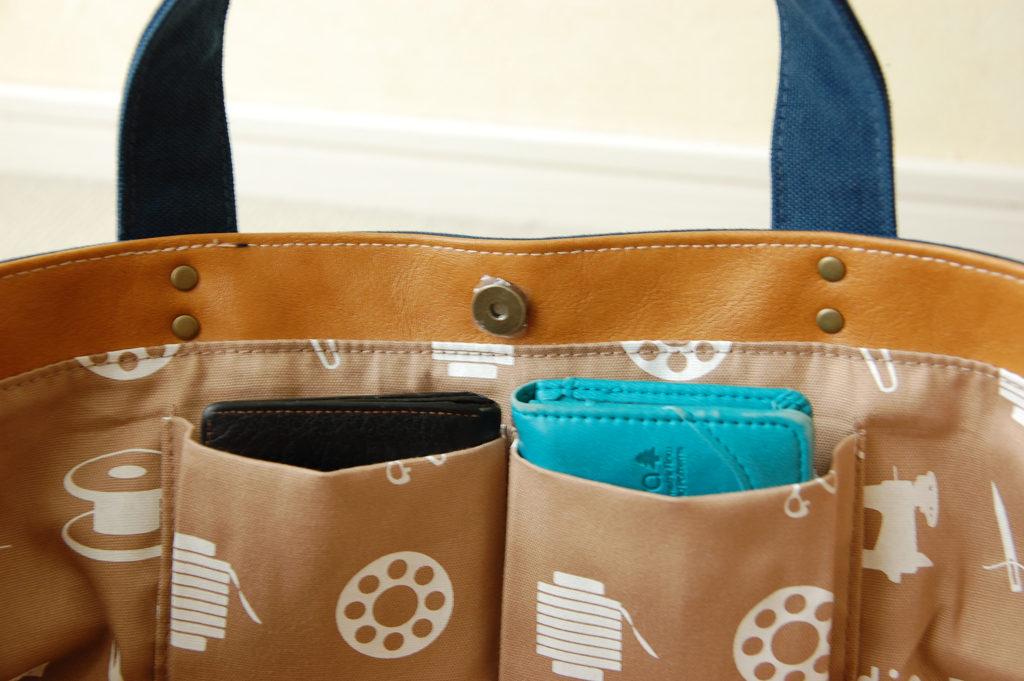 倉敷帆布*横長トートバッグの2分割ポケット