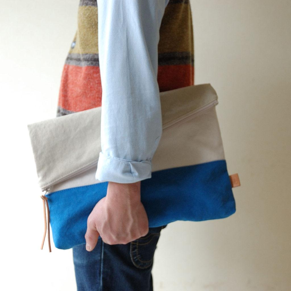 倉敷帆布*A4サイズの二つ折りクラッチバッグ