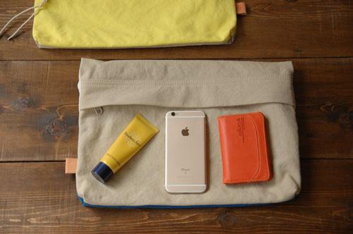 倉敷帆布*A4サイズのクラッチバッグの外ファスナーポケット