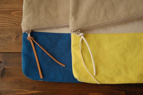 倉敷帆布*A4サイズのクラッチバッグの革ひも