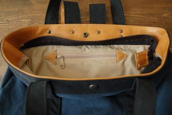 倉敷帆布トート型リュック<サハラ>のファスナーポケット