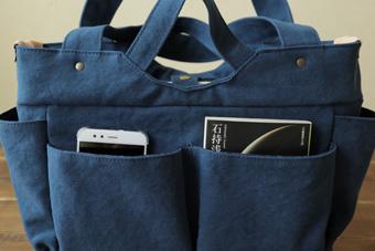 倉敷帆布多ポケット2Way肩掛けトートバッグの正面外ポケット