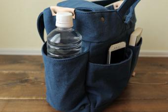 倉敷帆布多ポケット2Way肩掛けトートバッグのサイド外ポケット