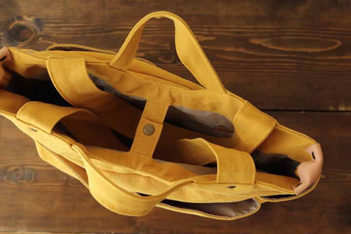 倉敷帆布多ポケット2Way肩掛けトートバッグの手持ち使用時の仕様