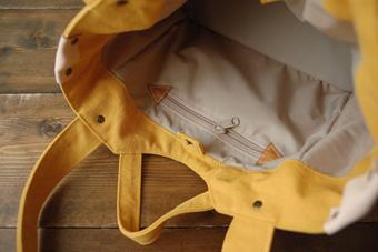 倉敷帆布多ポケット2Way肩掛けトートバッグ<マスタード>の内布